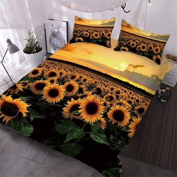 Sunflowers In The Fields At Sunset Printed 3-Piece Comforter Sets