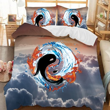 The Eight Diagrams Of Fish And Water Printed 3-Piece Comforter Sets