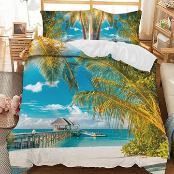Pavilions On The Sea And Coconut Trees On The Beach 3-Piece Comforter Sets