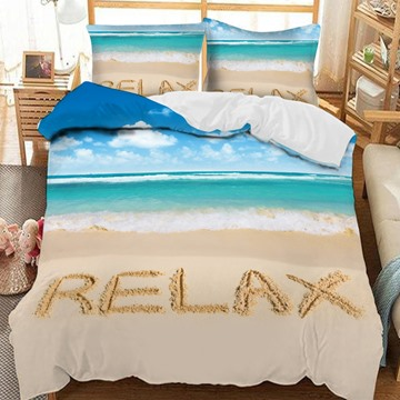 Beach With 'Relax' Written On It Printed 3-Piece Comforter Sets