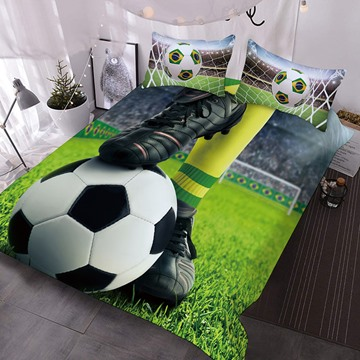 The Soccer Under The Feet Of A Soccer Player Printed Polyester 3-Piece Comforter Sets