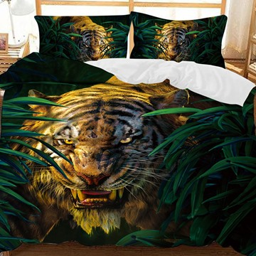 The Tiger Roared In The Bush Printed Polyester 3-Piece Bedding Sets/Duvet Covers