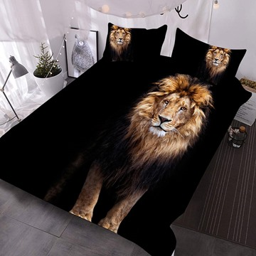 The Lion Standing In The Dark Printed Polyester 3-Piece Comforter Sets