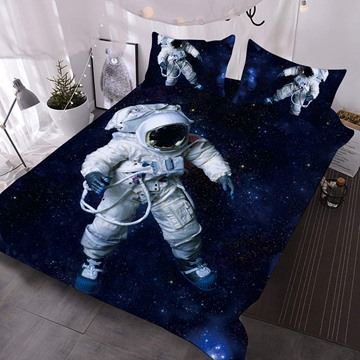 Astronauts In White Space Suits In The Universe 3D Printed 3-Piece Polyester Comforter Sets
