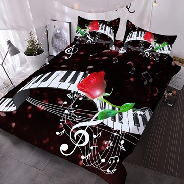 Black And White Piano Keys And A Red Rose 3D Printed 3-Piece Polyester Comforter Sets