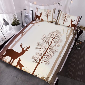 Brown Silhouette of Moose Printed Polyester 3-Piece Comforter Sets