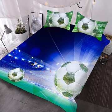 The Soccer In The Spotlight Printed Polyester 3-Piece Comforter Sets