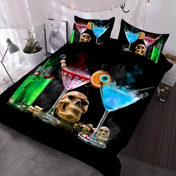 Three Cocktails And A Skull On The Table Printed Polyester 3-Piece Comforter Sets