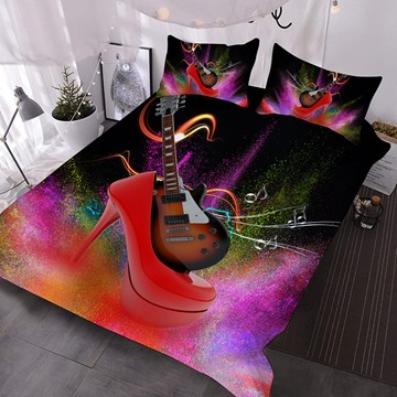 Electric Guitar In Red High Heels Printed Polyester 3-Piece Comforter Sets