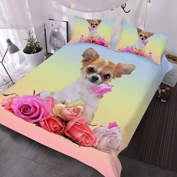 A Puppy With A Pink Rose In His Mouth Printed Polyester 3-Piece Comforter Sets