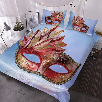 A Red And Gold Diamond-encrusted Mask Printed Polyester 3-Piece Comforter Sets