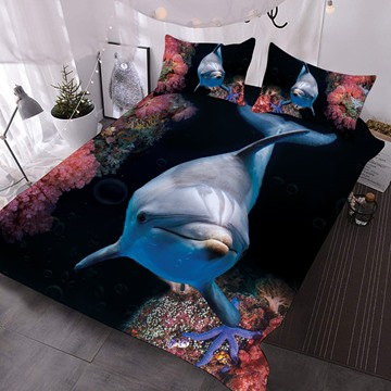 A Dolphin Near Red Coral In The Deep Sea Printed Polyester 3-Piece Comforter Sets