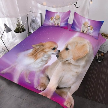 Chihuahua And Golden Retriever Printed Polyester 3-Piece Comforter Sets