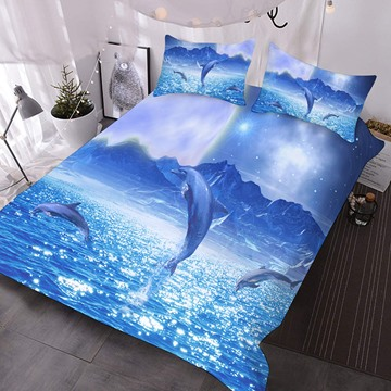 Dolphins Jumping Out Of The Blue Sea Printed Polyester 3-Piece Comforter Sets