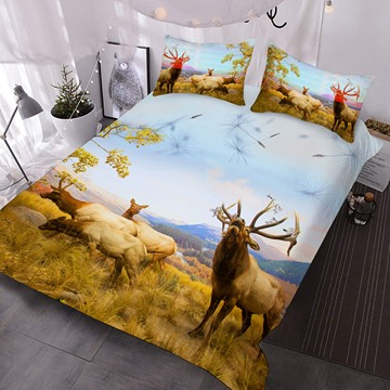 Four Deer On The Prairie Printed Polyester 3-Piece Comforter Sets