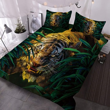 The Tiger Roared In The Bush Printed 3-Piece Comforter Sets