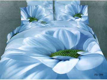 3D Blue Daisy And Flower Pistil Printed 5-Piece Comforter Sets