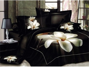 3D White Magnolia Flower Printed 5-Piece Comforter Sets