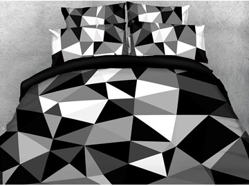 Geometric Figure In Black White And Gray 3D Printed 5-Piece Comforter Sets