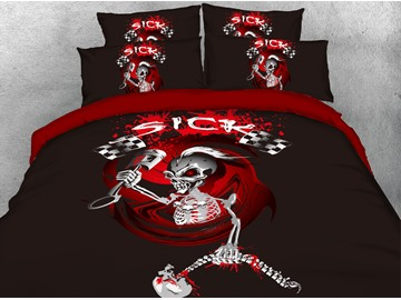 Persevering Steel Bone Skull Leader 3D Printed 4-Piece Cotton Bedding Sets/Duvet Covers