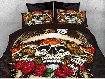 The Rose Skull King And Snake 3D Printed 4-Piece Cotton Bedding Sets/Duvet Covers