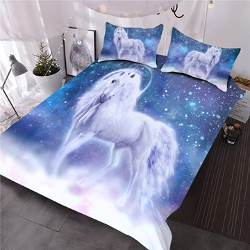 Unicorns In Blue Wonderland Printed 3-Piece Polyester Comforter Sets