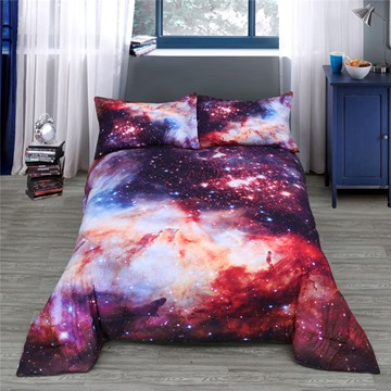 Super Grand Red Galaxy Printed 3-Piece Polyester Comforter Sets