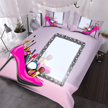 Pink High-heels And Makeup Mirrors Printed 3-Piece Polyester Comforter Sets