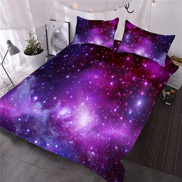 Stars In The Purple Galaxy Printed 3-Piece Polyester Comforter Sets