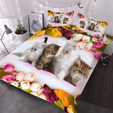 Four Kittens Surrounded By Tulips Printed 3-Piece Comforter Sets