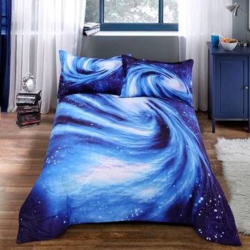 Blue Spiral Galaxies Printed 3-Piece Polyester Comforter Sets