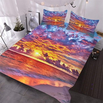 Red Beach At Sunset 3D Printed 3-Piece Polyester Comforter Sets