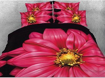 Ebullient Claret-colored Barberton Daisy Warm 3D Printed 5-Piece Comforter Sets
