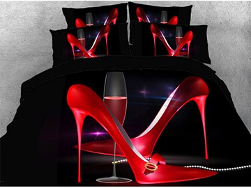 Sexy Red Pointy High Heels Wine Glass Warm 3D Printed 5-Piece Comforter Sets