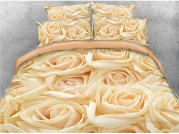 Luxurious Golden Roses Warm 3D Printed 5-Piece Comforter Sets