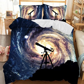 A Telescope To Look At Galaxies Soft 3D Printed Polyester 3-Piece Bedding Sets/Duvet Covers