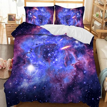 Mysterious Purple Galaxy Universe Soft 3D Printed Polyester 3-Piece Bedding Sets/Duvet Covers