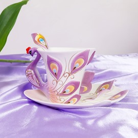 Gift for Friends and Relatives With This Purple Peacock Coffee Cup Sets