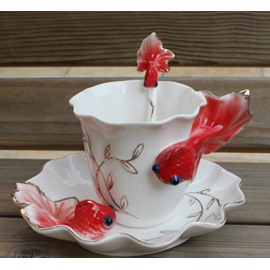 Hot Selling Creative Gift Pink/Red/Purple Goldfish Coffe Cup For Lovers/Relatives