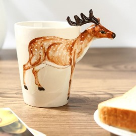 Amazing Creative Sika Deer Design Ceramic Hand Painting Cup
