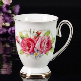 Top Quality Bone China Beautiful Roses Creative Mug