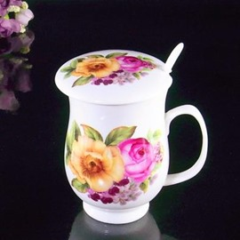 Wonderful Ceramic Blooming Flowers Coffee Mug