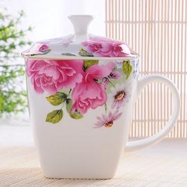 Elegant Pretty Royal Flower Bone China Coffee Mug