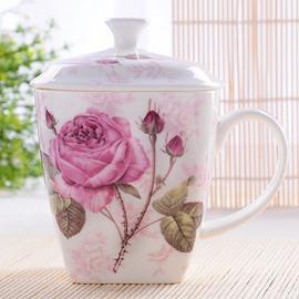 Lovely Romantic Blossom Rose on Branch Bone China Coffee Mug