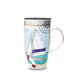 Wonderful Color Painting Sailing Boat Ceramics Coffee Mug