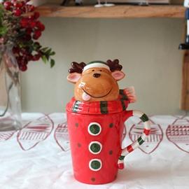 Adorable Cartoon Reindeer Design Lid Ceramics Coffee Mug