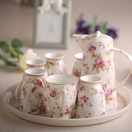 European Style Ceramic Floral Pattern Coffee Sets 6 Cups 1 Kettle