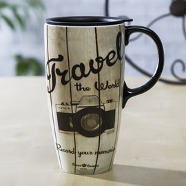 Unique Travel the World Camera Pattern Ceramic Tall Coffee Mug