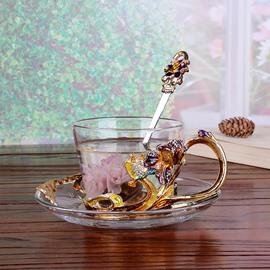 Gorgeous Enamel Iris Decorative Glass Coffee Cup 1-Piece