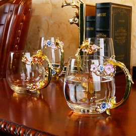 Beautiful Creative Handmade Enamels Flower Glasses 1 PieceTea Cup
